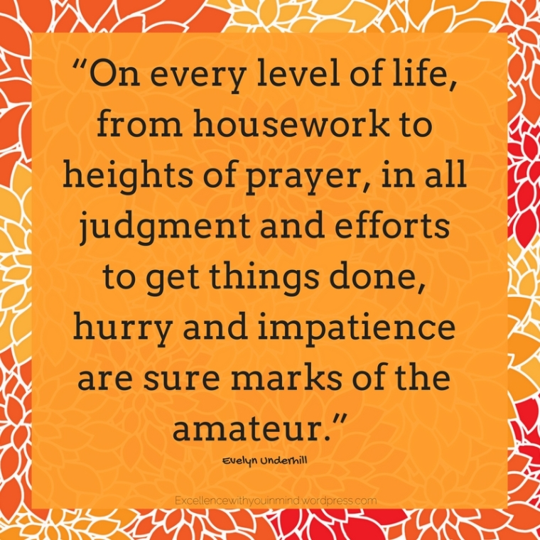 """On every level of life, from housework to heights of prayer, in all judgment and efforts to get things done, hurry and impatience are sure marks of the amateur."""